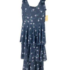 Rachel Roy Small Navy Blue Floral  dress L1-10